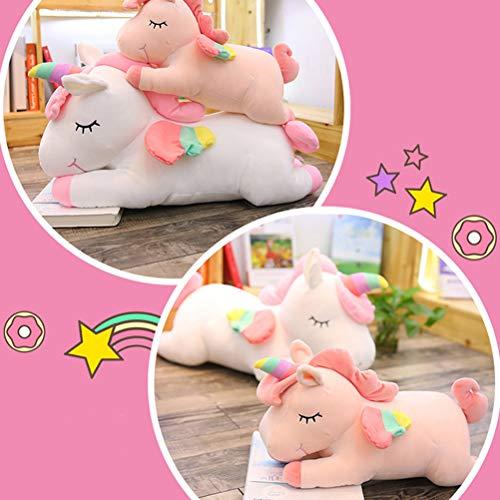YeahiBaby Juguete Peluche de Unicornio Cojines de Peluche del Sofá y Cama Juguete Regalo de Cumpleaños para Niños Blanco y Rosa