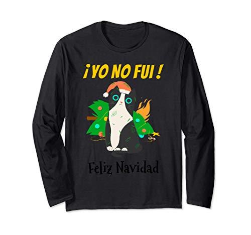 Yo No Fui Gato Negro con Gorro de Santa y Árbol de Navidad Manga Larga