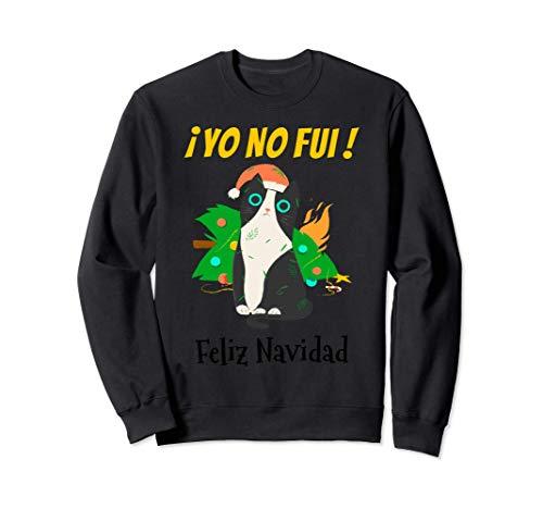 Yo No Fui Gato Negro con Gorro de Santa y Árbol de Navidad Sudadera