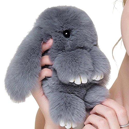 Yodensity Llavero de peluche de conejo, llavero de coche anillo dominante del coche monederos bolsos accesorios