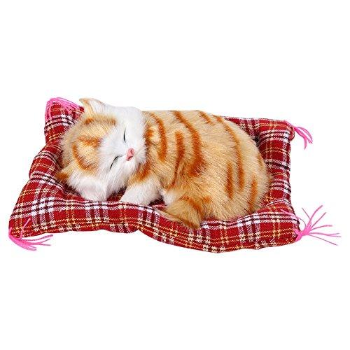 Yosoo 1pcs Gato de Peluche Super Mini Cute Cat Juguetes simulación Dormir Gatos Juguetes de Peluche con Sonido, Amarillo
