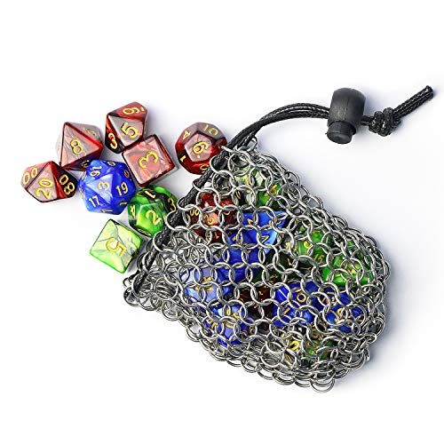 YOUSHARES Drawstring D&D Dice Bag - Bolsa de Dados de COTA de Malla de Acero Inoxidable de Gran Capacidad para Mazmorras y Dragones Juego de Dados (Mantenga 3 Juegos)