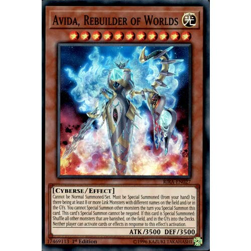 YuGiOh RIRA-EN027 1er Ed Avida, Rebuilder of Worlds Super Rare Card Rising Rising Rampage Tarjeta única