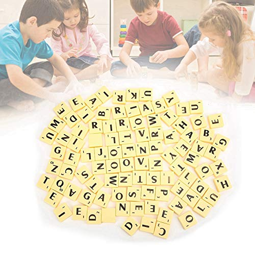 Zerodis Azulejos de Letras, Juego de Mesa Interesante Azulejos de plástico Scrabble Cartas Juego de Piezas de Juego Arte y artesanía Juguetes educativos Vintage para niños