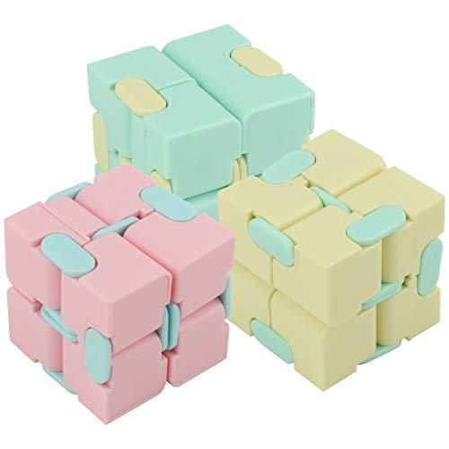 Zerodis Cubo de plástico de 3 uds, Juguete de Cubo Infinito Juguete de descompresión Mate Oficina Juego doméstico para Adultos niños niños