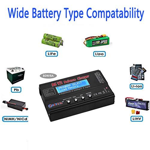 ZHITING Cargador de batería LiPo 1S-6S Balance Discharger Cargador de batería Digital para NiMH/NiCD/Li-Fe Packs con Conectores Tamiya/JST / EC3 / Hitec/Deans