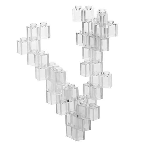 60 Bloques de construcción 2x1, compatible con todos los demás fabricantes, transparente