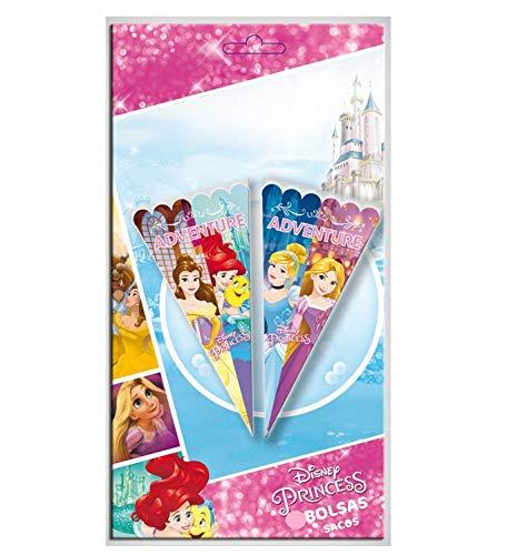 ALMACENESADAN 2362; Pack 6 Bolsas de Cono Disney Princesas; Ideal para Fiestas y cumpleaños; Bolsas para gominolas o Regalos; Producto de plástico; Dimensiones 20x40 cm