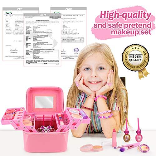 balnore Maquillaje para Niños, 34 Piezas Lavables Set de Maquillaje para Niñas con Caja de Maquillaje, Niños Fiesta, Cumpleaños