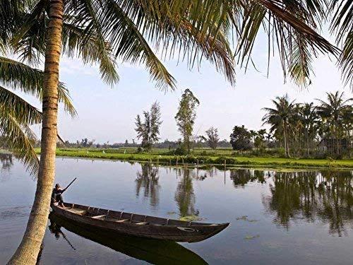 Barco cerca de hoi an Vietnam, gran rompecabezas de 500 piezas para adultos, niños, regalo de bricolaje, rompecabezas de madera