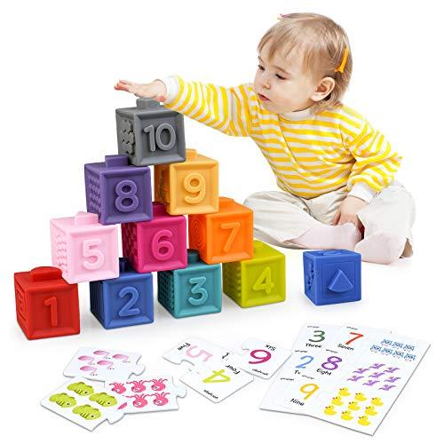 Bloques de Apilamiento Juguete de Construcción Cubo Blando con Tarjetas de Puzzle Incluido 30Pcs Blandito Juguete y Rompecabezas de Número y Animales Juguete Regalo Educativo para Niños