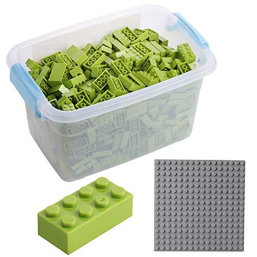 Bloques de construcción - 520 Piezas, compatibles con Todos los demás Fabricantes - Incluyendo la Caja y la Placa Base, Verde Claro