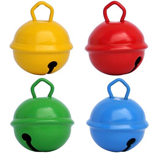 Cascabeles de Colores Grandes Amarillo + Rojo + Azul + Verde(25mm x4 Campanillas Bronce Musicales Sonoros) Para Manualidades Navidad Boda Sonajeros Muñeca Perros Pesca Carnaval Gato Montessori