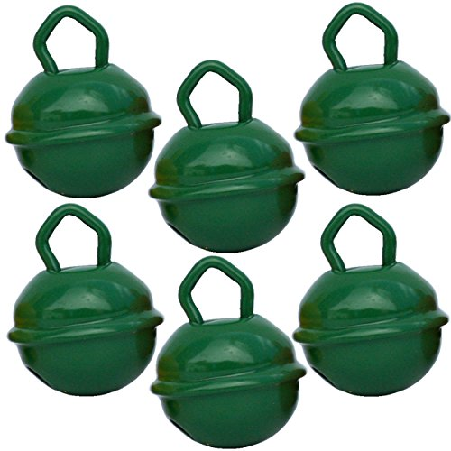 Cascabeles Verde Oscuro Pequeños (15mm x6 Campanillas de Bronce Musicales Sonoros) - 16 Colores MUSIKID (Bebe Niños) Para Manualidades Navidad Boda Sonajeros Muñeca Perros Pesca Carnaval Gatos Llavero