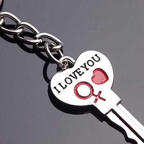 Da.Wa Llavero con forma de corazón con diseño de corazón y texto en inglés