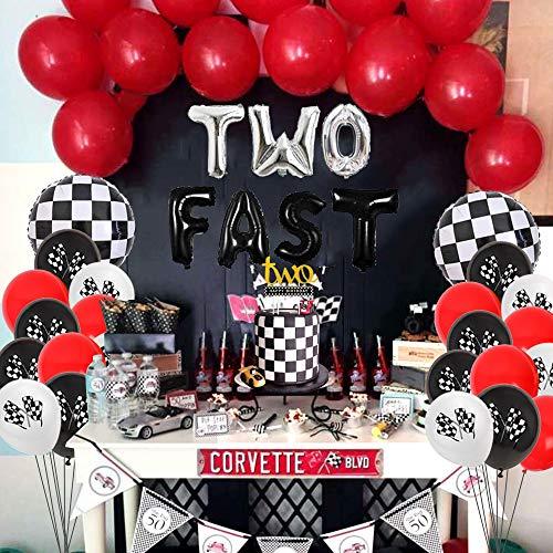 Decoraciones de la fiesta de cumpleaños del segundo cumpleaños Dos autos de carreras rápidas Suministros de la fiesta de cumpleaños Globos de Monster Truck Feliz cumpleaños Banner Cake Topper