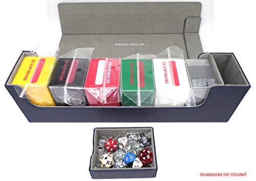 docsmagic.de Premium Magnetic Tray Long Box Dark Blue Large - Card Deck Storage - Caja Azul Oscuro