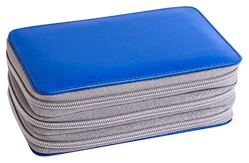 Eberhard Faber- Estuche Escolar con 3 Cremalleras, Triple Decker Azul Oscuro con Purpurina, 34 Piezas Relleno con lápices de Colores y Otros Utensilios de Escritura. (577566)