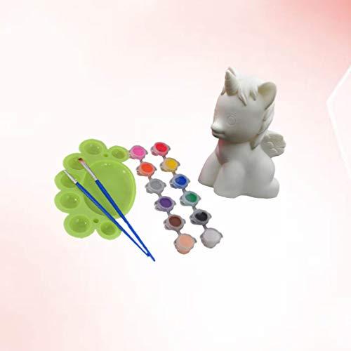 HEALLILY alcancía Unicornio sin Imprimir figurita Unicornio Caja de Dinero Creativa Pintura Escultura de Bricolaje para los niños Arte artesanía Pintura (patrón 1)