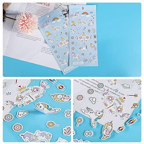 HIFOT 7 piezas Set de Papelería Unicornio, Cuaderno Unicornio Bolígrafos de Unicornio Estuche Lápiz Pegatinas Notas Autoadhesivas Diario Unicornio Estudiante Escuela Cumpleaños Regalo para Niñas Niños