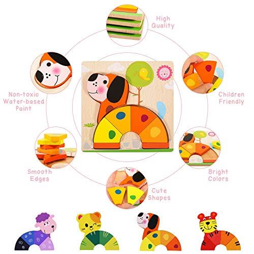joylink Puzzles de Madera, 4 Piezas Rompecabezas de Madera Bebes Puzzles de Madera Educativos Juguetes para Bebes Montessori Educativos Rompecabezas Juegos para Niños1 2 3 Años