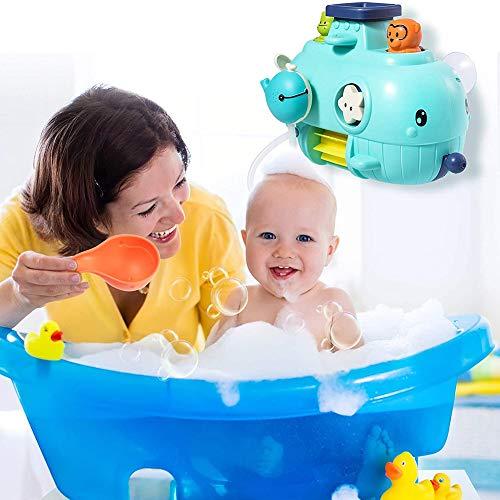 Juguetes de baño para bebés, Juguete de Pared de baño de Ballena 5 en 1, Juguetes de bañera con Cascada, rociador de Agua y Giro, Regalo de Ducha para niños pequeños, niños de 1 2 3 4 años