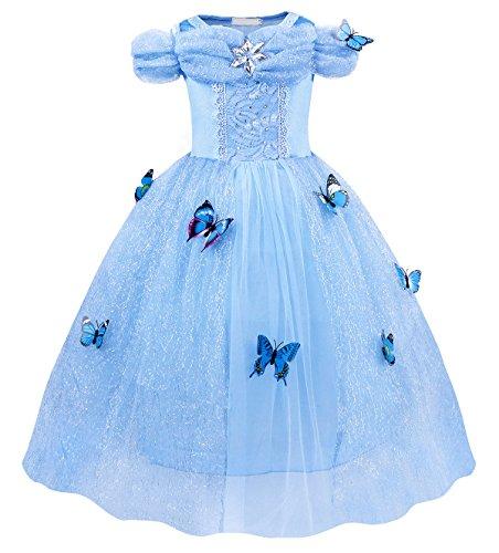 Jurebecia Disfraz Princesa Niñas Vestido de Fiesta para Niñas Dress Largo de Gasa con Encaje de Princesa Halloween Fiesta de Cumpleaños 3-4 Años Azul