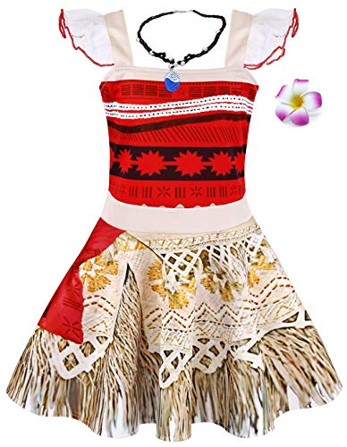 Jurebecia Vestido Moana para niños Conjuntos de Aventura Conjunto para niñas Vestidos de Princesa y Diademas Adjuntas Ropa para niños con Tiras y Collar Impreso Fiesta de cumpleaños de Halloween