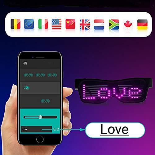 KEBEIXUAN Gafas LED Brillantes Para Fiesta Favor Gafas Bluetooth Personalizables con Flash LED, LED Recargable Gafas Luminosas para Raves,Festivales de Música, (Cuatro colores)