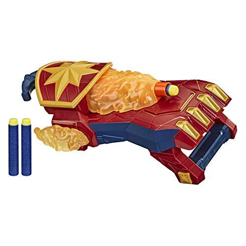 Nerf Power Moves Avengers Capitán Marvel, Guantelete de explosión de fotones lanzar Dardos, Juguetes para niños a Partir de 5 años (Hasbro E7378EU4)