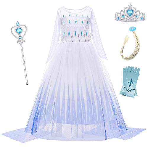 O.AMBW Princesa Elsa Frozen 2 Disfraz Princesa Azul Blanco Zafiro Disfraces para Niños Cosplay Carnaval Vestidos de Cumpleaños Mangas Largas con Accesorios con Doble Capa Desmontable