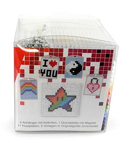 Pracht Creatives Hobby P90033-63501 Pixeles - Juego de Manualidades con 16 medallones, llaveros, para niños, niños y niñas, Ideal como pequeño Regalo, obsequio, para cumpleaños Infantiles