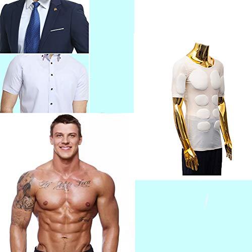 Realista Camisa del músculo Adulto Niños Novedad Músculo Abdominal Acolchado Disfraz Respirable Fajas Reductora,White,XL