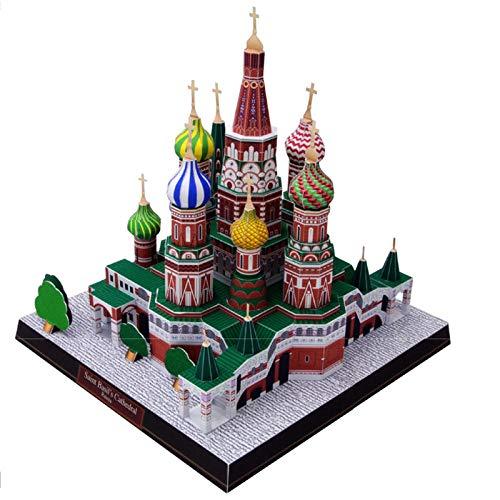 Rompecabezas 3D modelo de construcción de papel gran arquitectura del mundo del juguete Catedral de San Basilio Moscú Rusia famosa iglesia de construcción