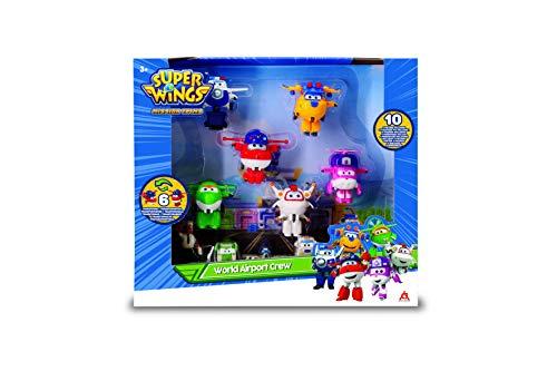 Super Wings – Caja transformadora de 6 Piezas + FIJURINES PVC x4 – Aviones Juguetes transformables y Figuras Robots del Dibujo Animado Juguete para niños a Partir de 3 años