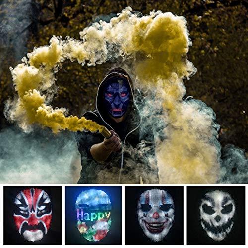 TAK Máscara de Pantalla LED de Halloween Máscara Brillante Edición de Bluetooth Pantalla de autoajuste a Todo Color Máscara de Fiesta Máscara de Fiesta Máscara de Mascarada Máscara