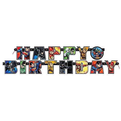 Unique Party - Cartel de Cumpleaños - 1,82 m - Diseño de la Liga de la Justicia (49980)