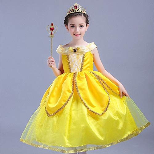 Vicloon Accesorios de Vestir Princesa, Elsa Accesorios, Conjunto con Accesorios de Princesa del Hielo Elsa, Princesa de la Nieve con Varita mágica & Corona. (Amarillo)