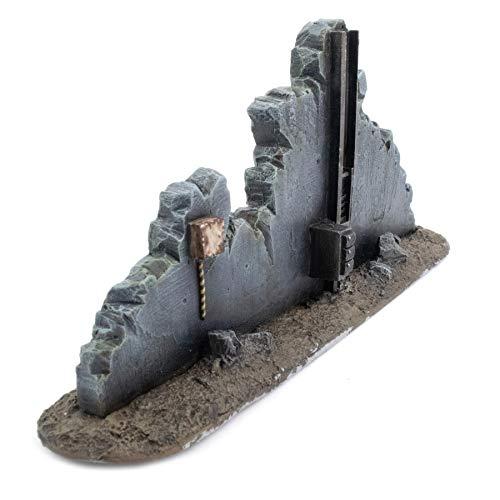 War World Gaming War-Torn City - Sección Recta de Edificio Destruido - 28mm, Escala Heroica, Sci-Fi, Wargaming, Modelismo, Dioramas, Zombis, Post Apocalíptico