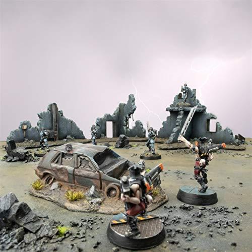 War World Gaming War-Torn City - Set de 3 Edificios Destruidos y Coche Dañado - Escala 28mm, Heroica, Sci-Fi, Wargaming, Modelismo, Dioramas, Zombis, Post-Apocalíptico