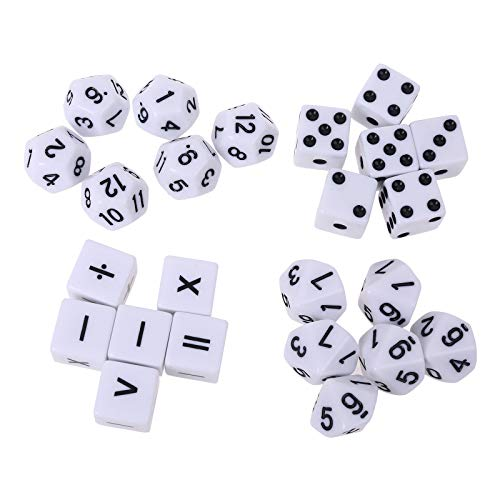 WT-DDJJK Dados Cuadrados, Suma, resta, multiplicación, división, símbolo, Dados, bebé, Accesorio de enseñanza de matemáticas