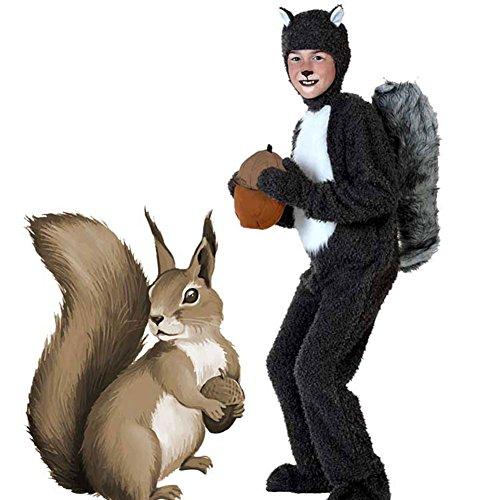 YFCH Traje de Disfraz Animal para Niños Niñas Pijama de Una Pieza con Capucha para Festival de Carnaval Halloween Navidad, Ardilla, XL/Altura: 125-140cm