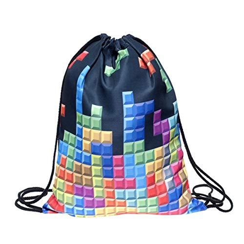 Bolsa con cordón para niños, niñas y adolescentes, con estampado completo. Bolsa plegable de nailon, para la escuela, viajes, hogar, deportes, Tetris