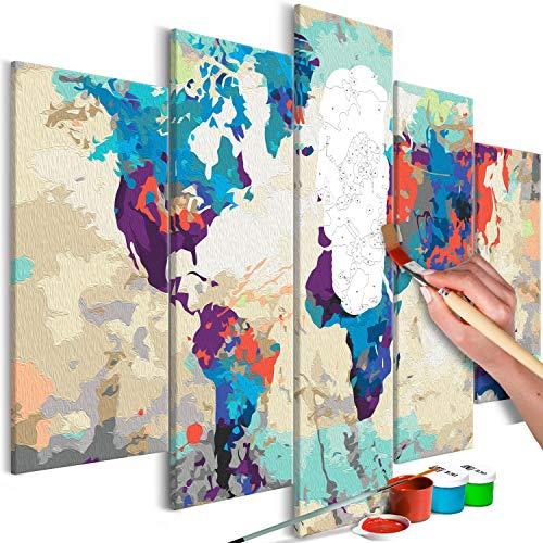 murando Pintura por Números Mapamundi 100x50 cm 5 Piezas Cuadros de Colorear por Números Kit para Pintar en Lienzo con Marco DIY Bricolaje Adultos Niños Decoracion de Pared Regalos n-A-0231-d-m
