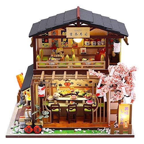 September-Eur ope -DIY 1:24 Montado a Mano Estilo Japonés Sushi Shop Miniatura de Madera Creativa Casa de Muñecas DIY Kit Montado para Regalo de Cumpleaños con Luces LED