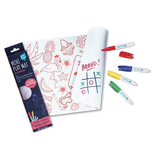 Super Petit – Mini Playmat 2 en 1 – Florida – Reversible – Incluye 4 rotuladores borrable de colores diferentes – Fácil de limpiar – Reutilizable – antibacteriano – A partir de 3 años – 30 x 20 cm
